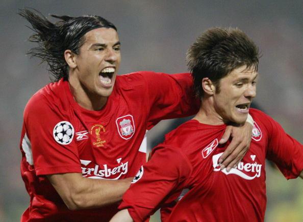 Liverpool's Czech striker Milan Baros (L