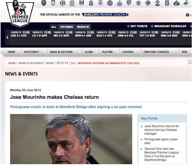 Premier League Website