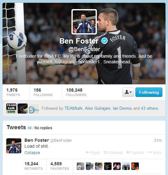Ben Foster Tweet