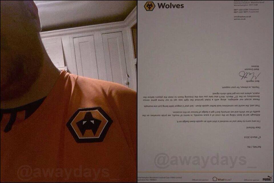 Wolves letter to fan