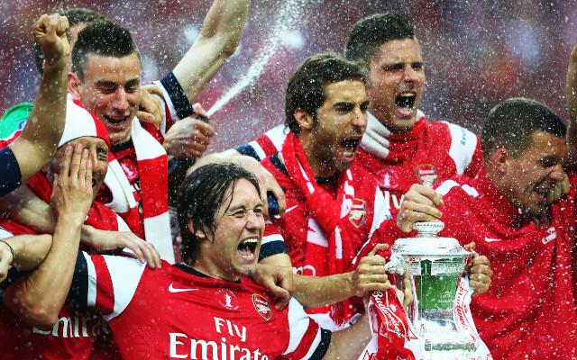 Arsenal FA Cup Trophy Laurent Koscielny Mathieu Flamini Olivier Giroud Tomas Rosicky Lukas Podolski