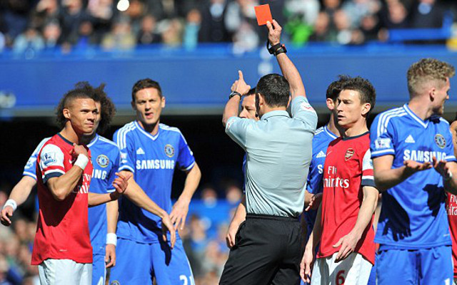Gibbs red card against Chelsea in March 2014.