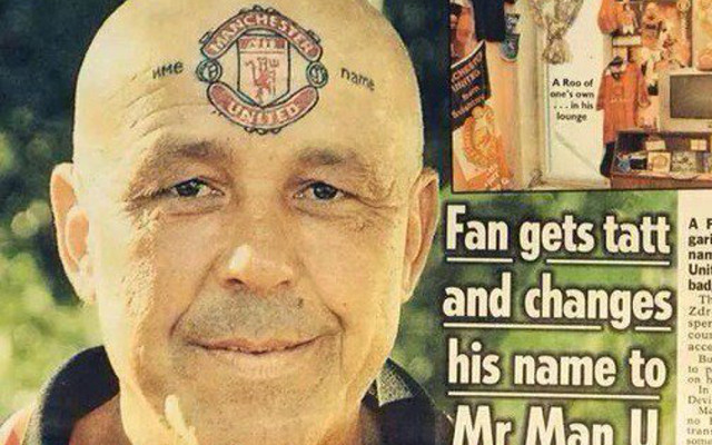 Image Mad Fan Changes Name To Manchester United Gets Club Crest Tattooed On Forehead Caughtoffside