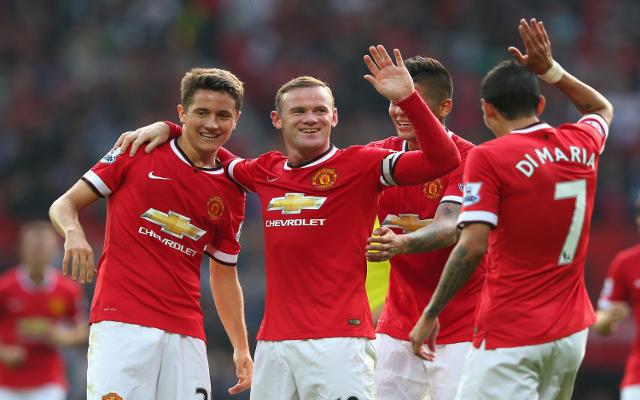 Ander Herrera Wayne Rooney Marcos Rojo Angel di Maria Man United