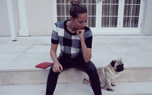 Mandy Capristo (Mesut Ozil WAG) and pug