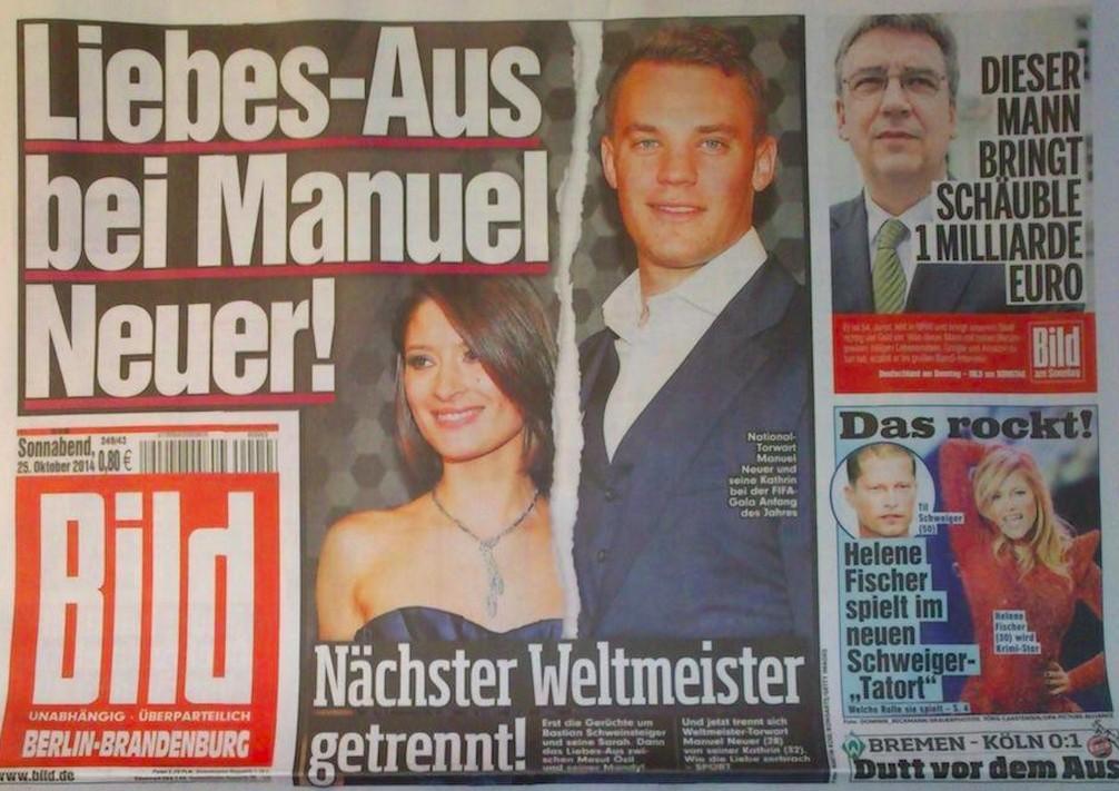 Manuel Neuer and former WAG Kathrin Gilch (Bild break-up headline)
