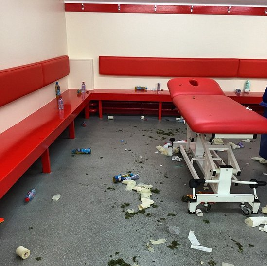 Anfield dressing room after Chelsea visit