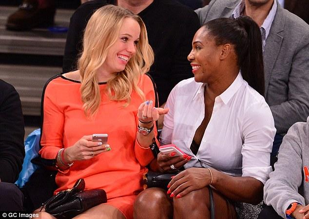Caroline Wozniacki and Serena Williams at the New York Knicks