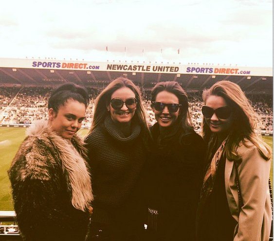 Danielle Lloyd and pals at Newcastle v Liverpool