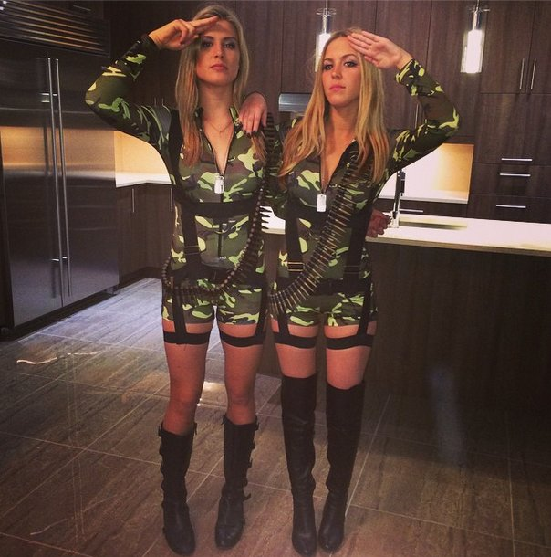 Eugenie Bouchard and twin sister Beatrice in Halloween outfits
