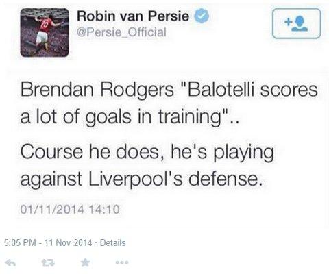 Robin van Persie Mario Balotelli Brendan Rodgers Tweet