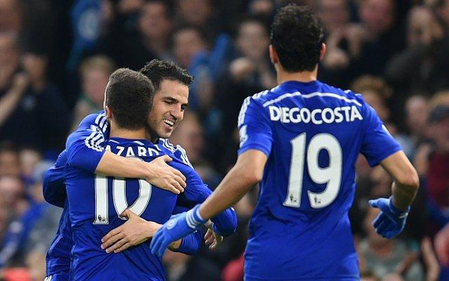 Cesc Fabregas Eden Hazard Diego Costa Chelsea team