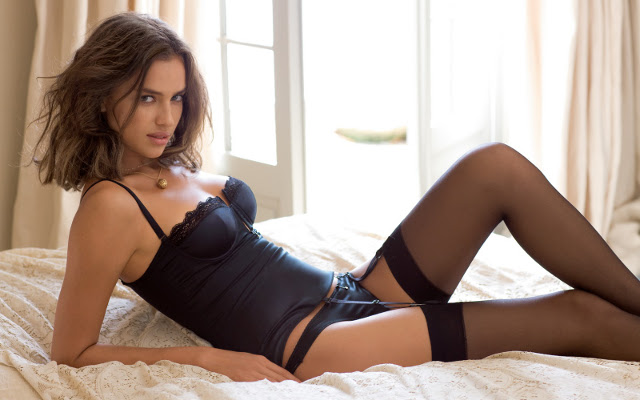 Irina Shayk in stockings