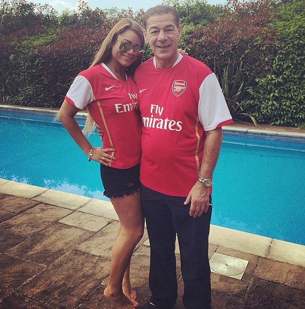 Natalie Polycarpou and her dad in Arsenal shirts