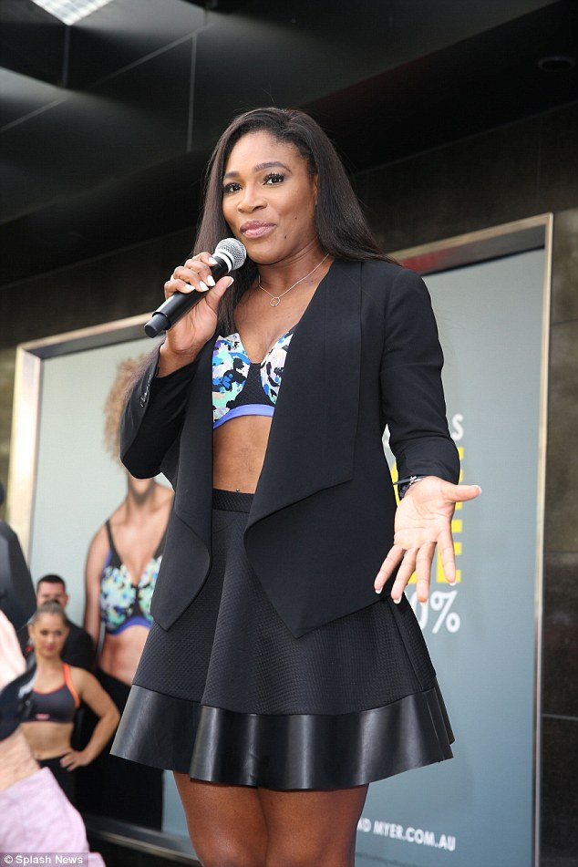 Serena on stage at Berlei bras event