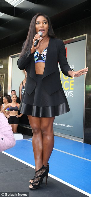 Serena talking to crowd at Berlei bras event