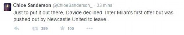 Chloe Sanderson tweet