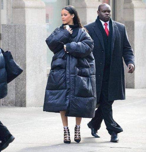 Rihanna in Wenger coat