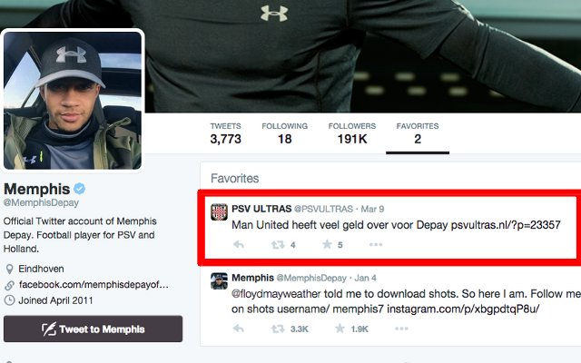 Memphis Depay PSV Eindhoven favourite tweets