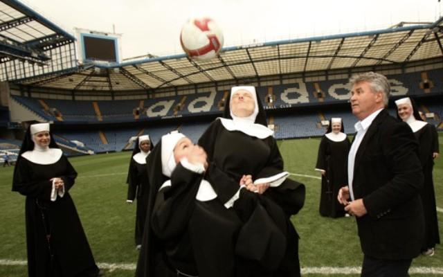 Guus Hiddink and nuns play head tennis at Chelsea FC