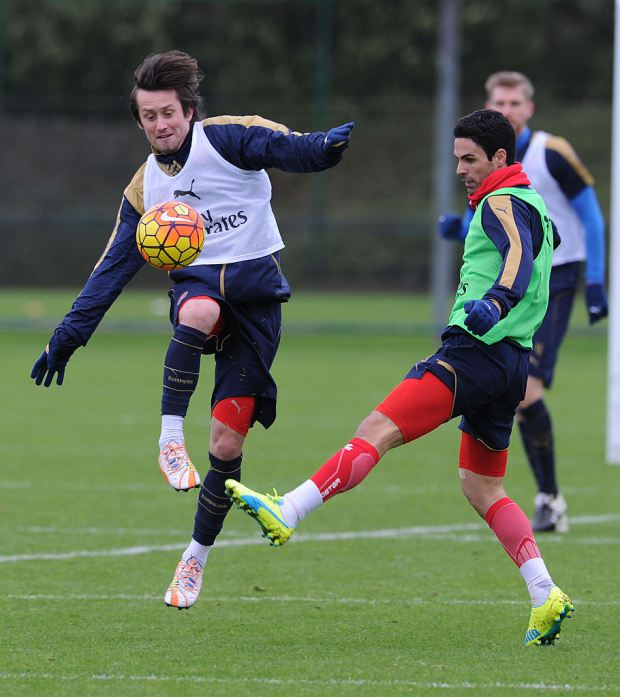ST ALBANS, ENGLAND - JANUARY 12:  (L-R) Tomas Rosicky and Mikel Arteta of Arsenal during a training session at London Colney on January 12, 2016 in St Albans, England.  (Photo by Stuart MacFarlane/Arsenal FC via Getty Images)