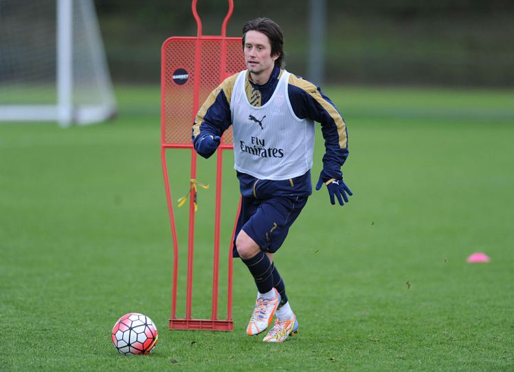 ST ALBANS, ENGLAND - JANUARY 12:  Tomas Rosicky of Arsenal during a training session at London Colney on January 12, 2016 in St Albans, England.  (Photo by Stuart MacFarlane/Arsenal FC via Getty Images)