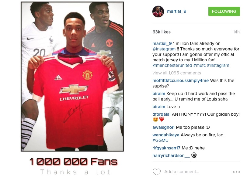 Anthony Martial Instagram post