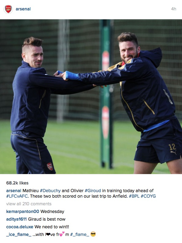 Arsenal Instagram post