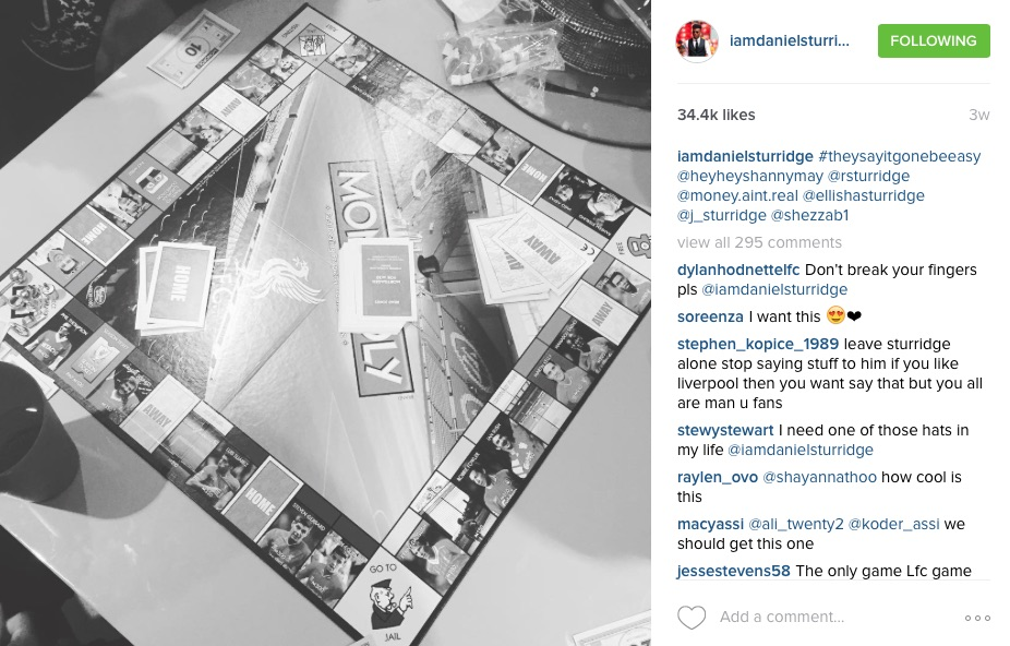 Daniel Sturridge playing Monopoly