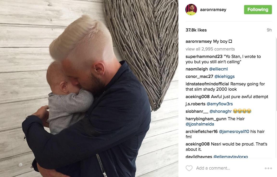 Aaron Ramsey Instagram hair hate
