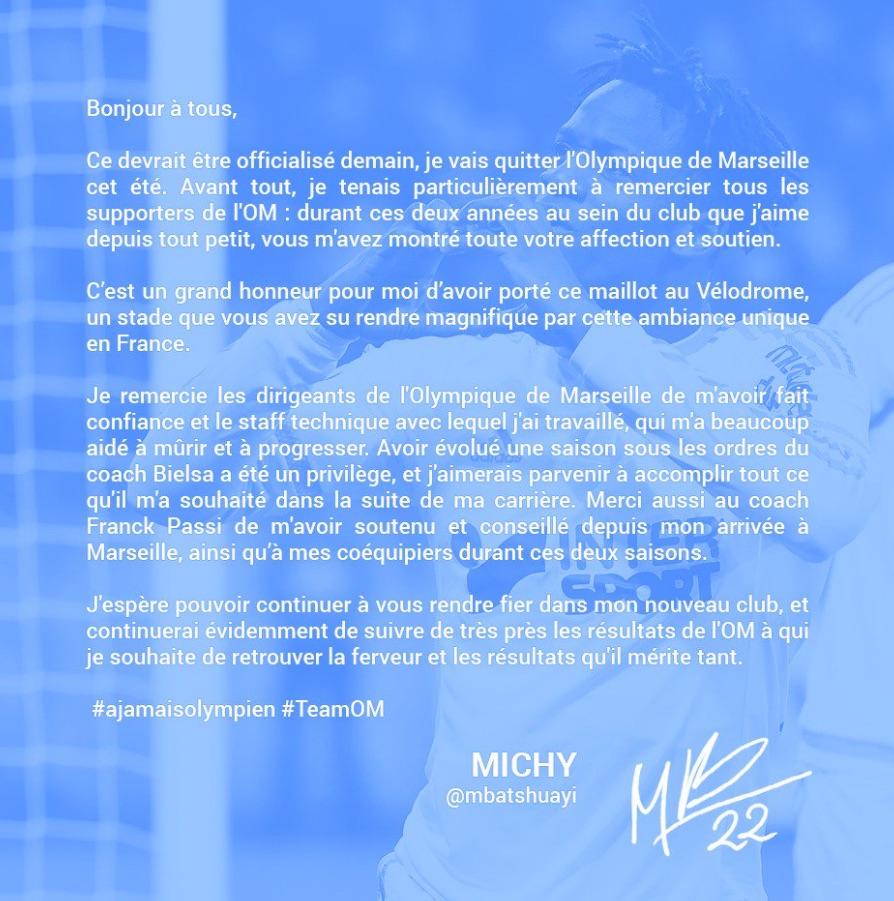 Michy Batshuayi letter