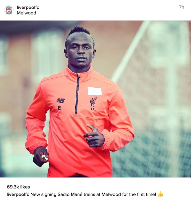 Sadio Mane Liverpool Instagram
