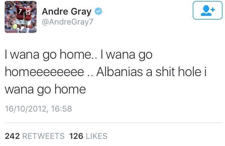 Andre Gray tweet on Albania