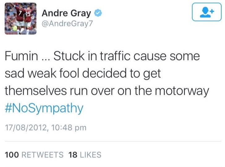 Andre Gray tweet on suicide