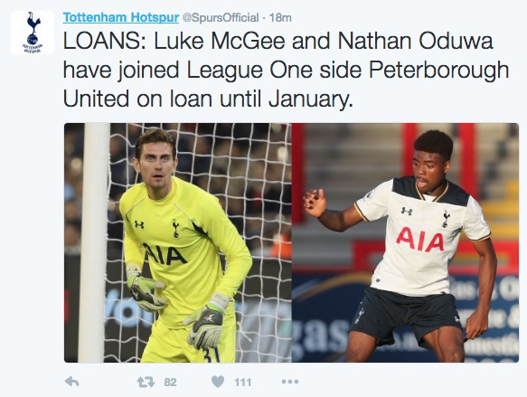 Spurs tweet about loans