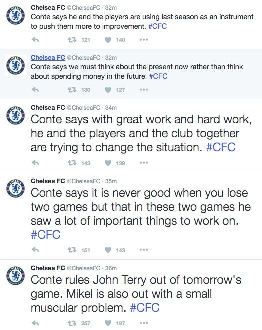 Chelsea FC tweets