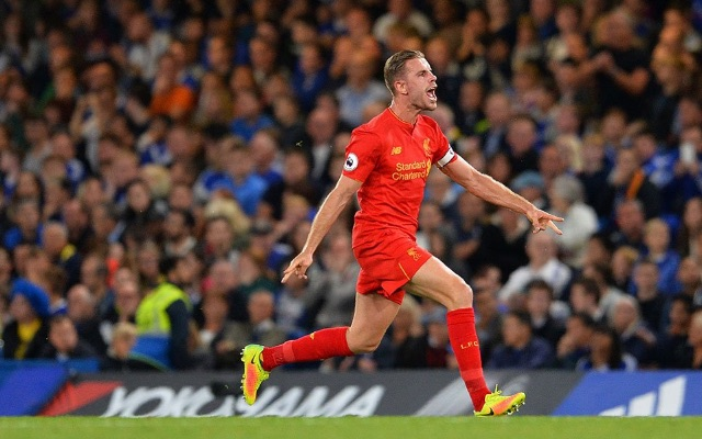 Happy Liverpool captain Jordan Henderson v Chelsea