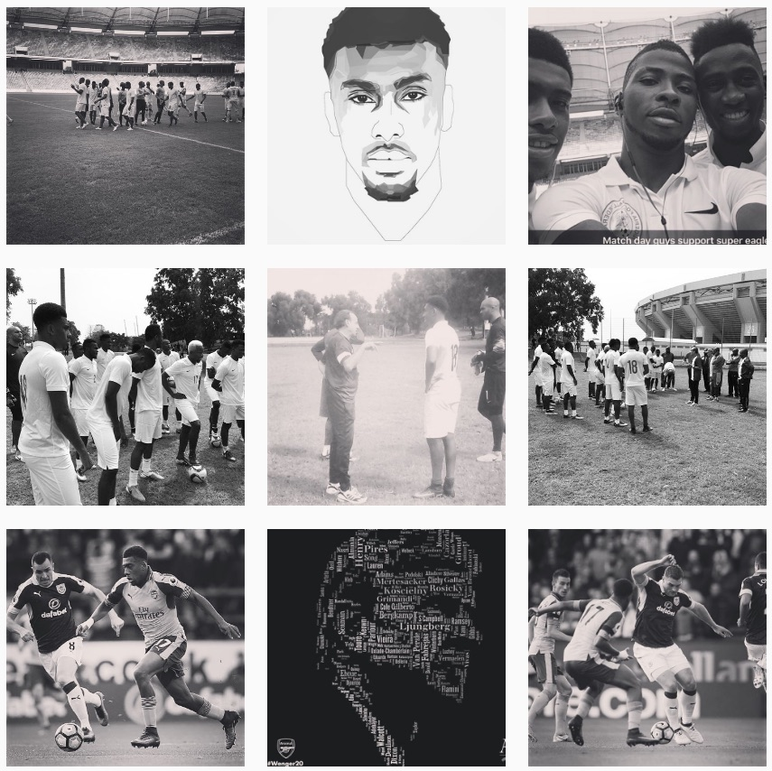 Alex Iwobi black and white Instagram filter binge