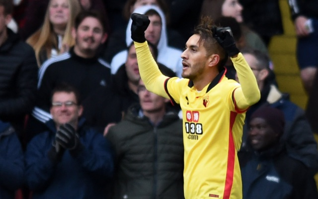 Roberto Pereyra celebrates goal for Watford v Leicester