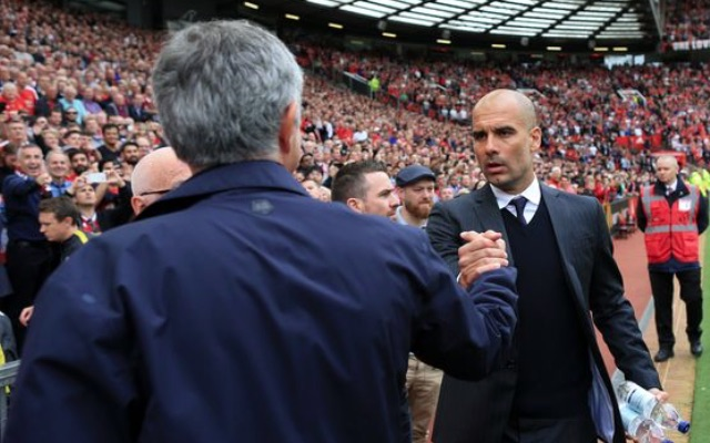 Jose Mourinho and Pep Guardiola at Manchester Derby