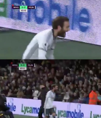 Juan Mata left hanging by pitch invader