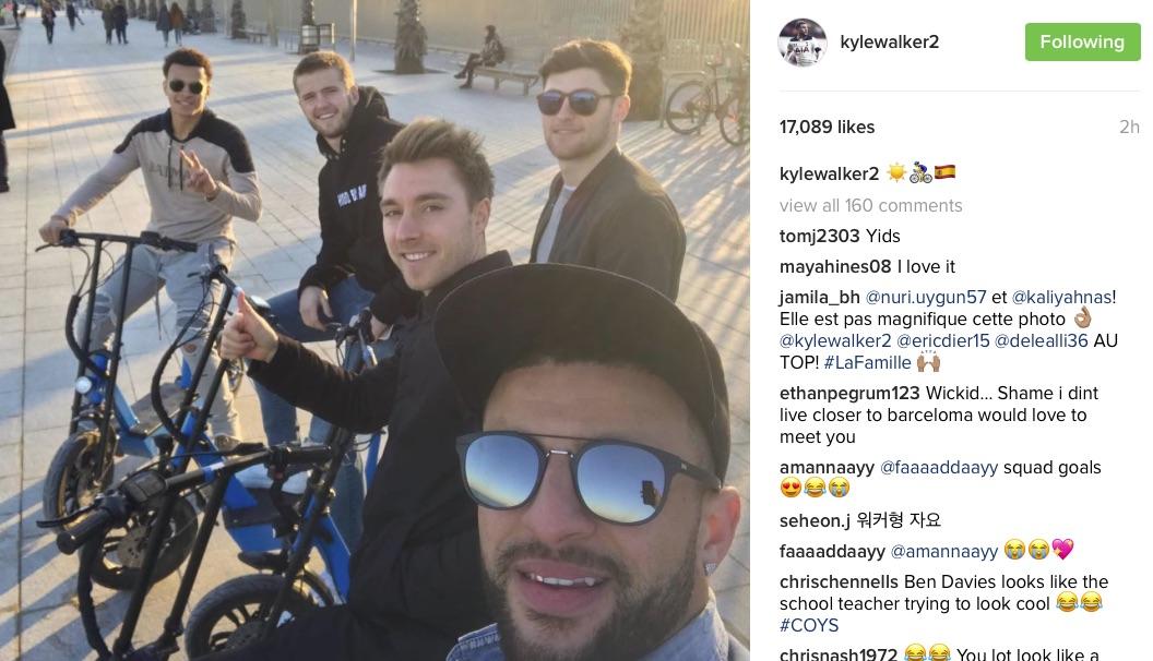Kyle Walker, Christian Eriksen, Ben Davies, Eric Dier and Dele Alli in Barcelona