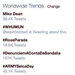 Mike Dean worldwide Twitter trend