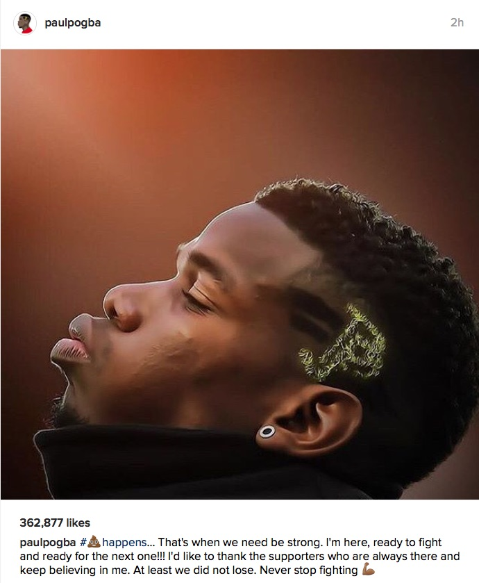 Paul Pogba Instagram post after Man United v Liverpool