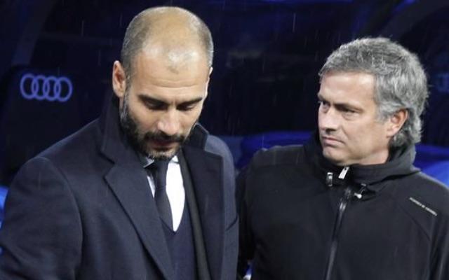 Pep Guardiola v Jose Mourinho during El Clasico