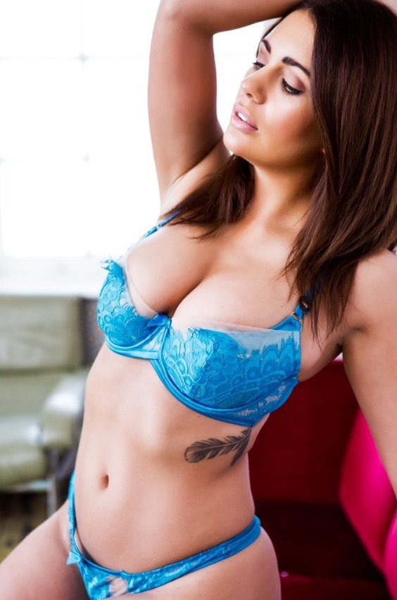 Holly Peers in bra and knickers