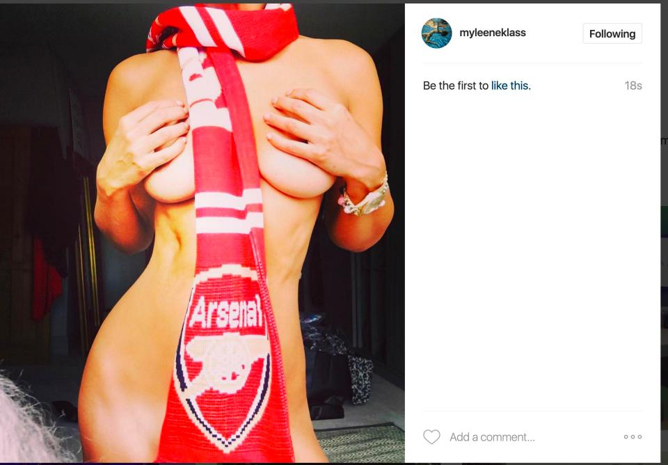 Myleene Klass naked in Arsenal scarf