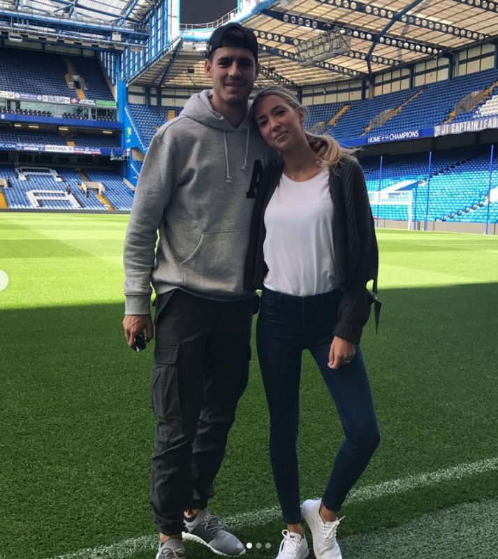 Alvaro Morata and WAG Alice Campello on Stamford Bridge pitch