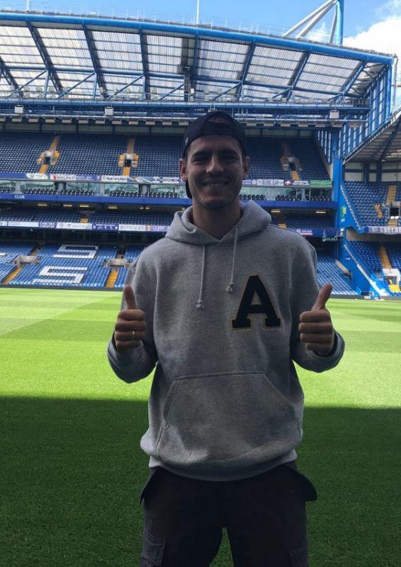 Alvaro Morata on Stamford Bridge pitch