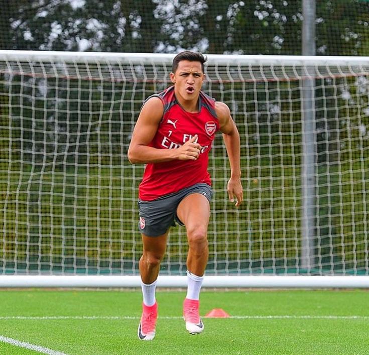 Alexis Sanchez in pre-season training with Arsenal
